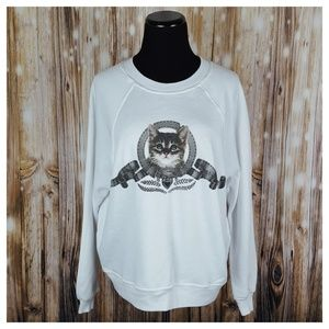 Wildfox Silver Screen Kitten Sommers Sweater S